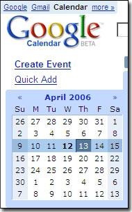 Corner of Google Calendar