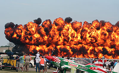 Bombing run fire