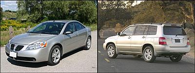Pontiac G6 and Toyota Highlander