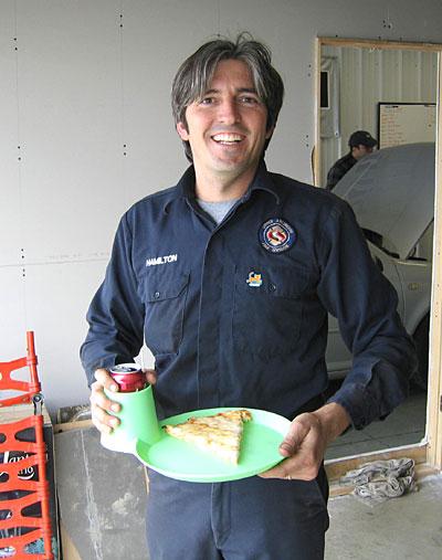 Jon Hamliton eating pizza