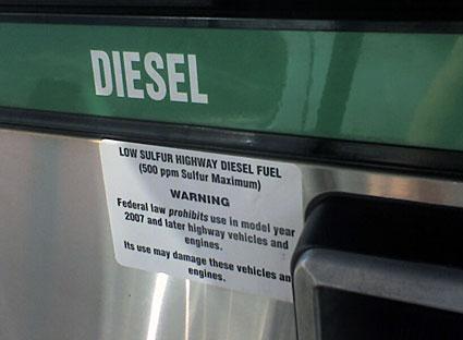 Label on Diesel pump in Kentucky